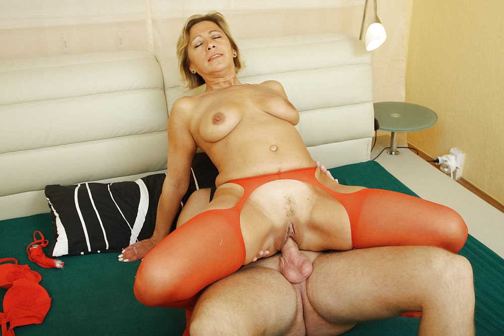 Mature blonde milf son