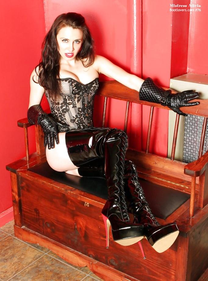 Bonding dominatrix high heel lace up boots