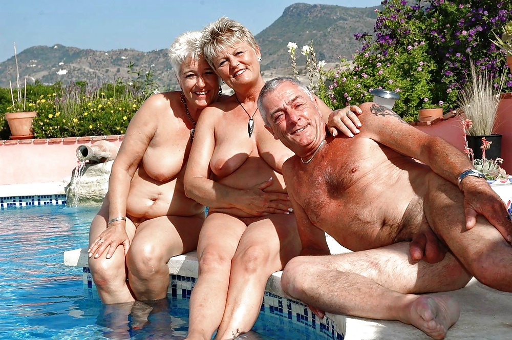 Group nude old woman