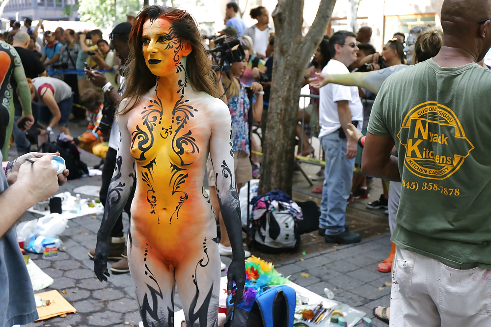 Nude body painted girls in public domination porn pics