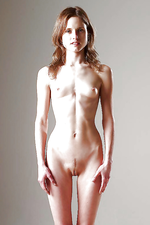 Skinny beauty flashes nude body