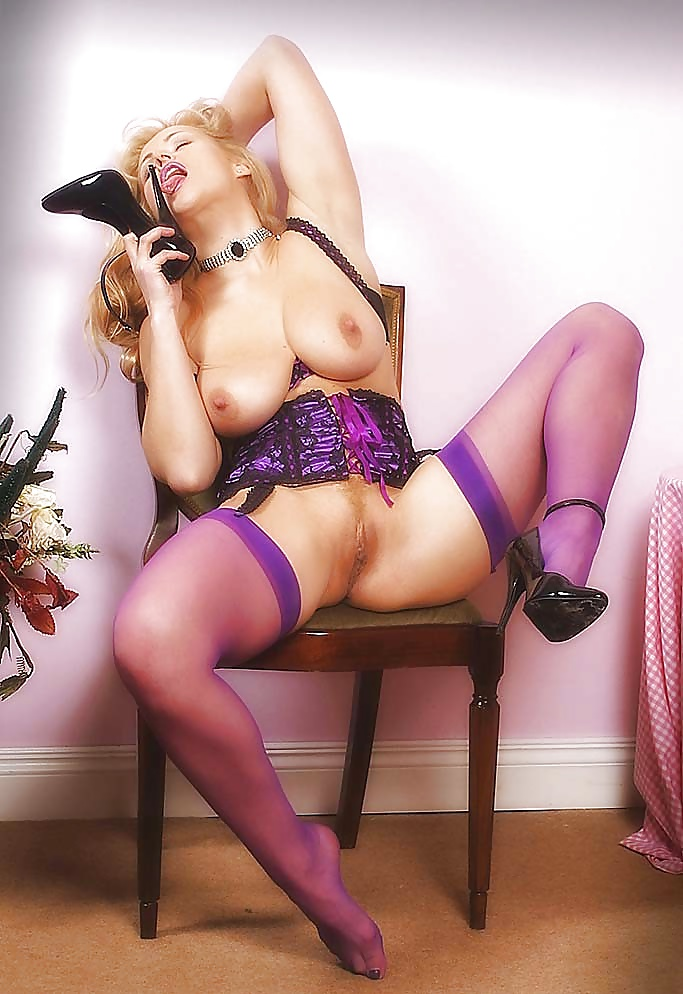 Chubby blonde purple lingerie nude