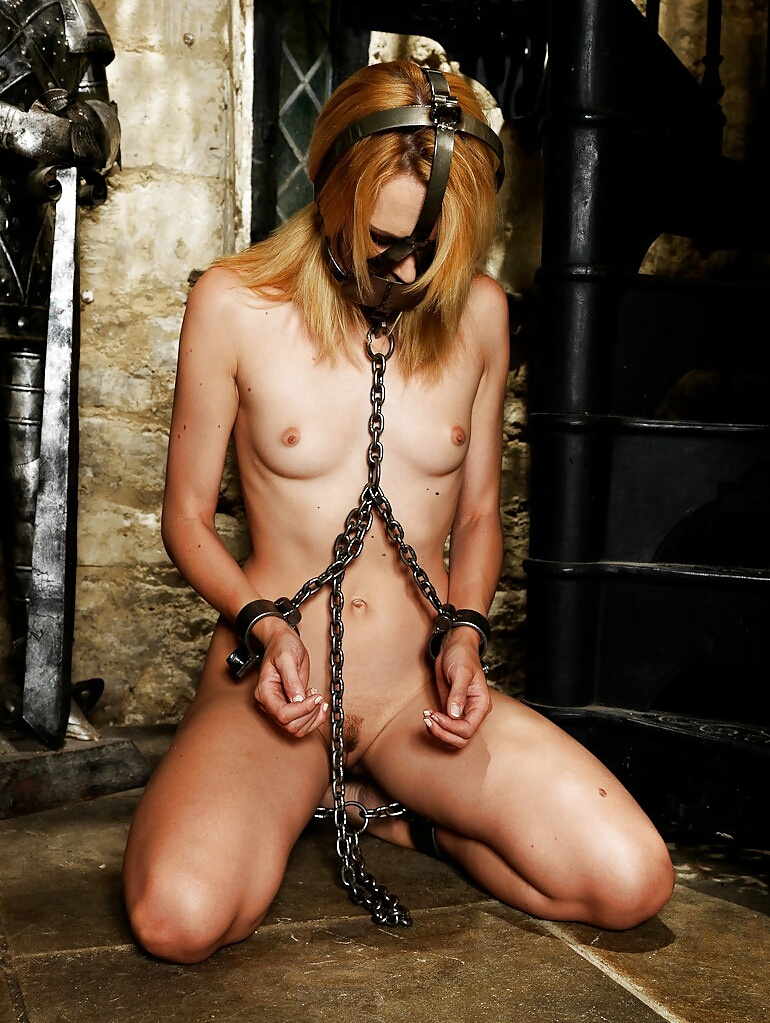 Skinny nude girl chained gang