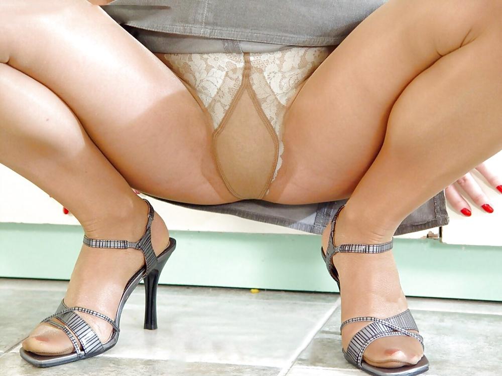 Upskirt pantyhose pov fetish