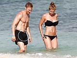 Gemma Atkinson's BF gets a hard on at the beach - not fake! (2)