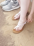 Teen with big tits beach feet, soles, stretch, toes (20)