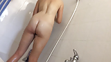 Sexy milf wife with super hairy pussy in bathroom (5)