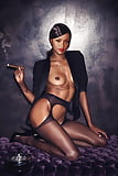 Rihanna Topless in Stockings (1)