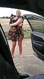 Stephanie stripping off and changing beside my car (9)