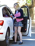 Elle Fanning Leggy in Mini Skirt LA  (5)