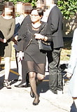 Whore in mini dress and black pantyhose at a church (7)
