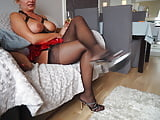 In my sexy stockings, high heels, corset (8)