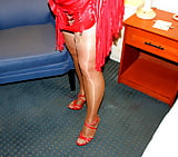 red top , tan stockings over pantyhose (9)