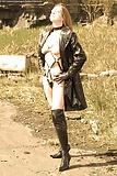 UK MILF Flashing In Leather Harness & Coat (8)