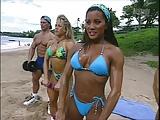 Kiana Tom Cock Hardening Blue String Bikini (14)